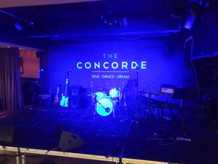 Stage set at the Concorde Club, Eastleigh