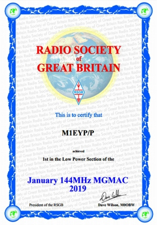 Winner's certificate for the inaugural 2m MGMAC