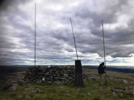 Our antennas - and an existing repeater aerial - on the summit