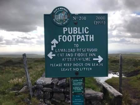 Footpath signpost near to Shining Tor summit