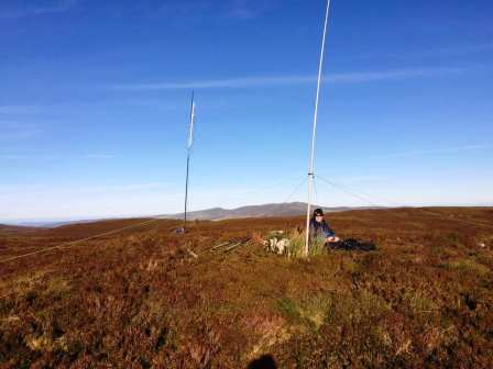 Both our antennas set up of Foel Cedig