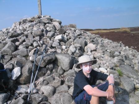 Jimmy rests at Bleaklow summit