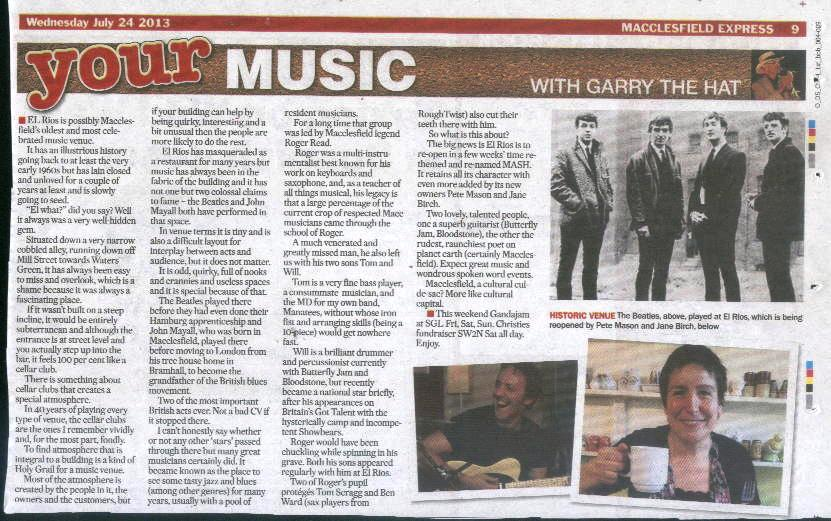 A nice tribute in Garry the Hat's music column