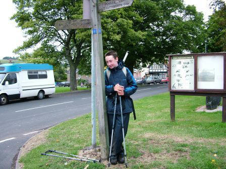 Jimmy knocks the Pennine Way signpost over!