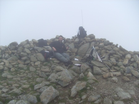 Tom M1EYP in the summit cairn/shelter thingy
