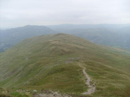 Descending from St Sunday Crag summit to Patterdale