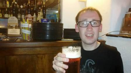 Jimmy M0HGY enjoying a pint in the pub