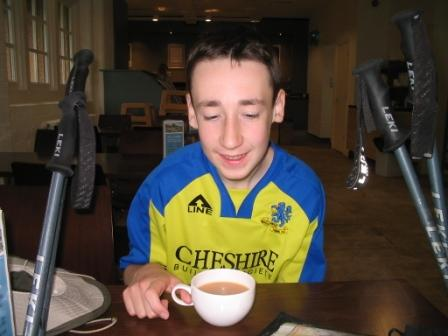 Jimmy enjoys a cup of tea in the cafe in Lyme Park