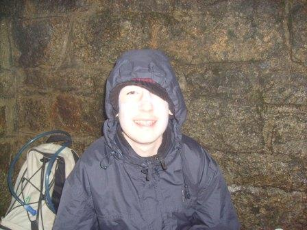 Jimmy MI3EYP/P in the shelter in the Mourne Wall
