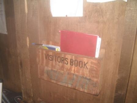 The logbook in the 2nd mountain refuge hut