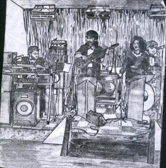 Cartoon of the 1990 Warner, Seaton band, drawn by Marianne Read