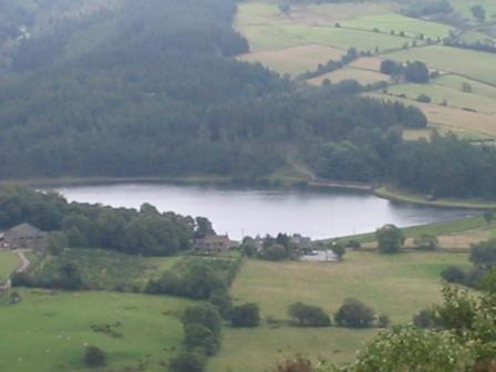 Looking down on Teggs Nose Reservoir