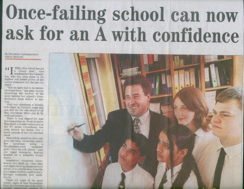 Newspaper article about Brownhills High School