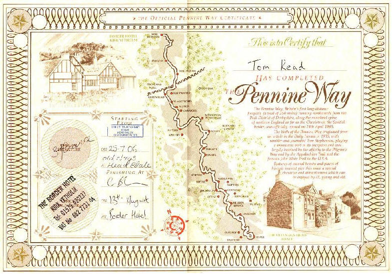 Tom's Pennine Way completion certificate