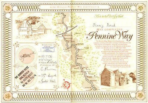 Jimmy's Pennine Way completion certificate